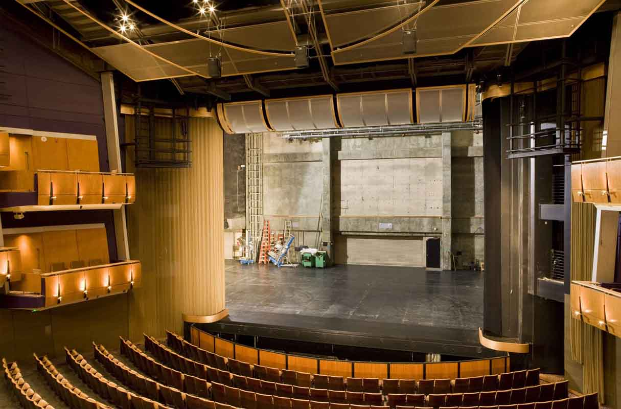 MATT construction Ahmanson Proscenium Theater Front View Curtain Open