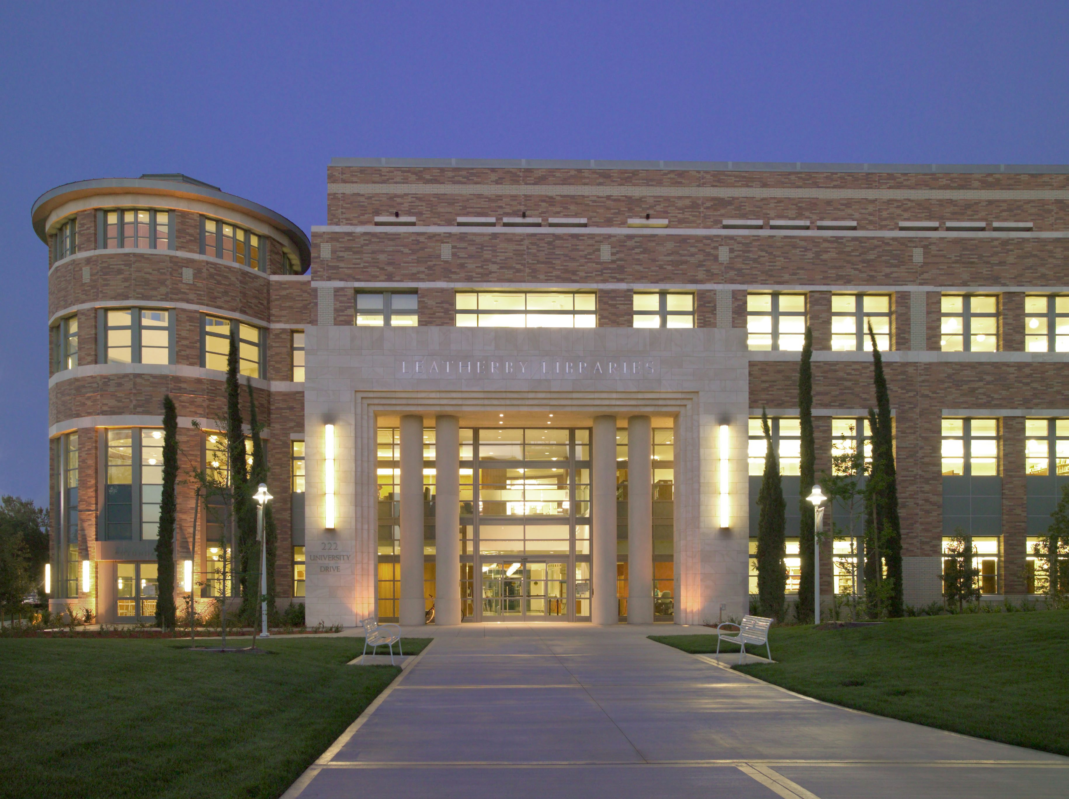 MATT construction Chapman University Leatherby libraries exterior front entrance night