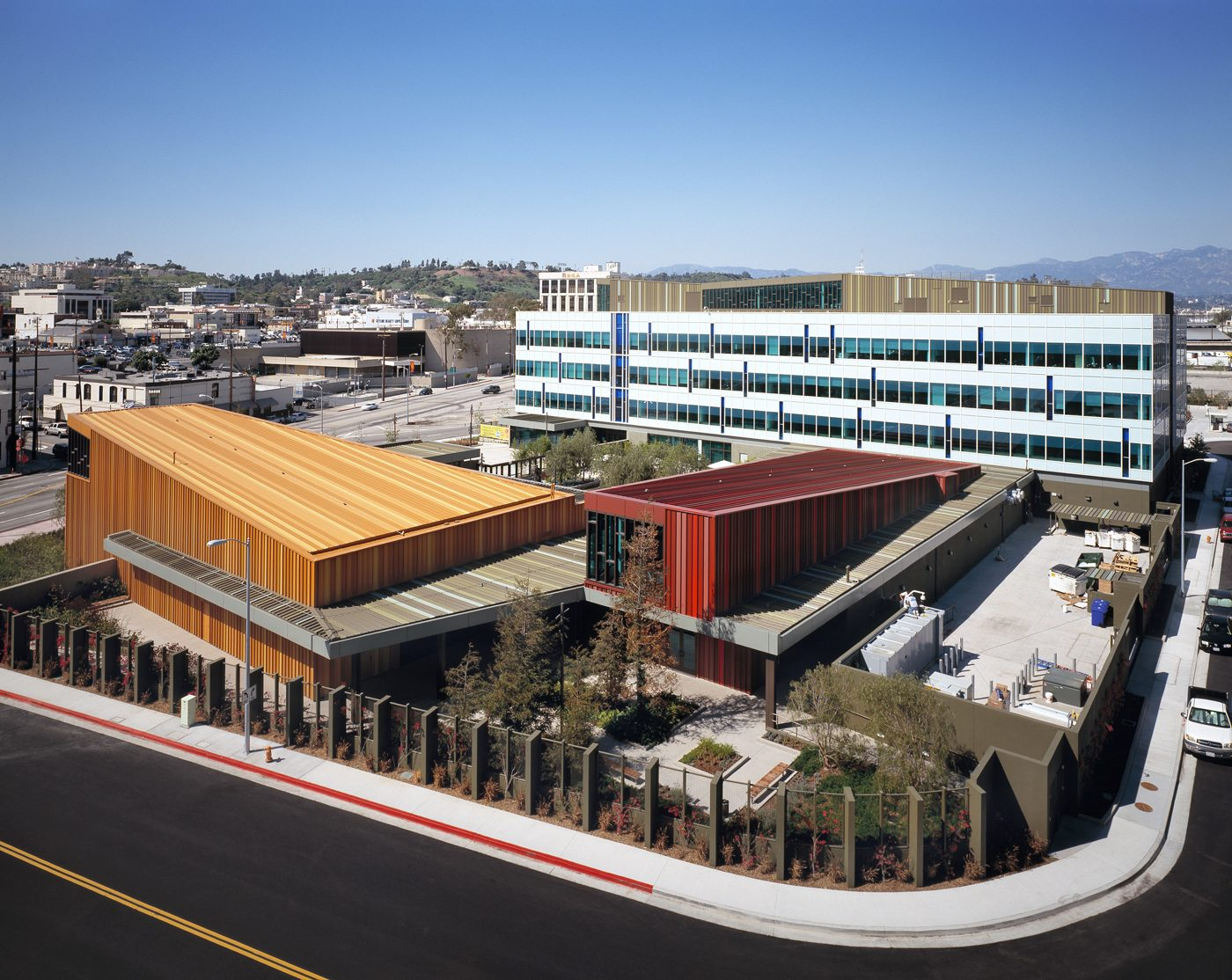 MATT construction California Endowment Headquarters Exterior Bird's Eye View Aerial
