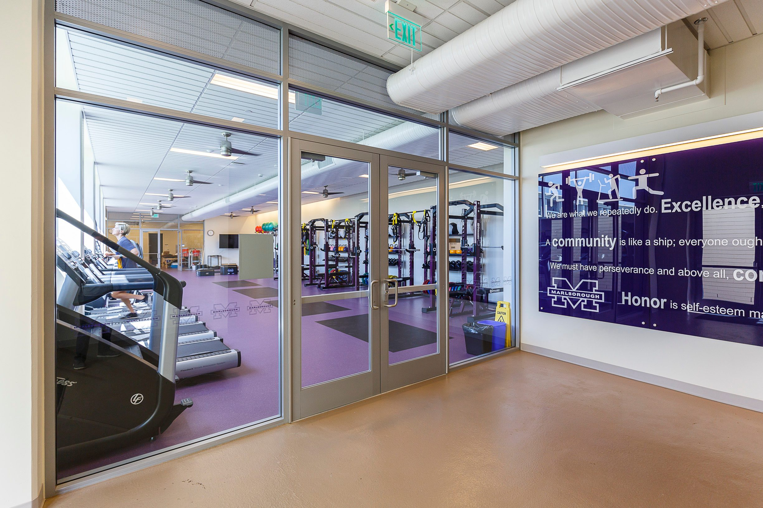 MATT construction Marlborough High School Arden Project Interior Fitness Center Entrance