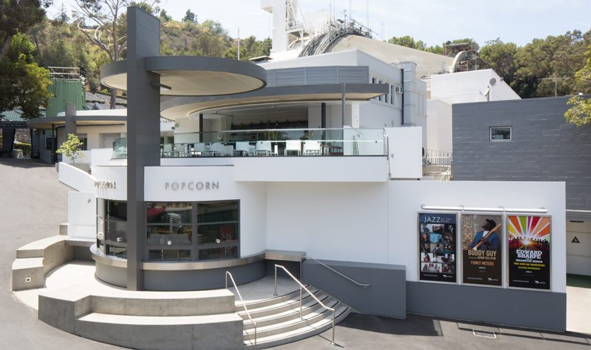 Hollywood Bowl Bar popcorn stand exterior front day