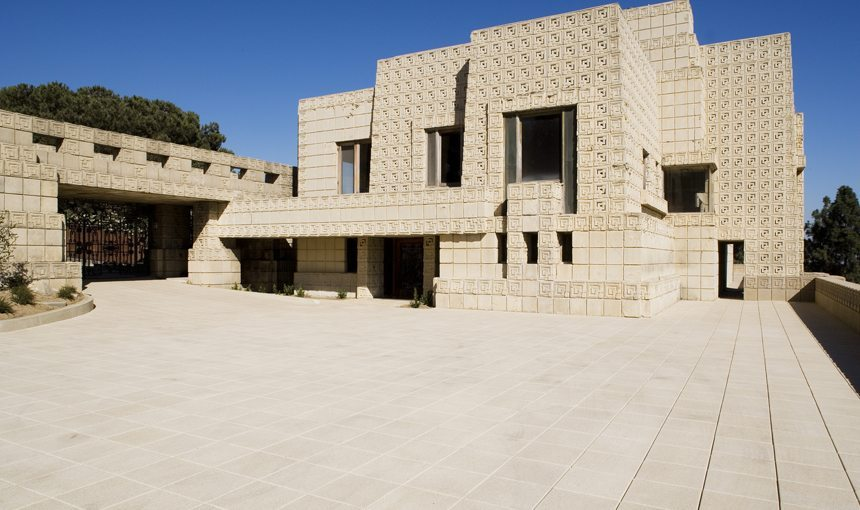 MATT construction Frank Lloyd Wright Ennis House Exterior Front courtyard