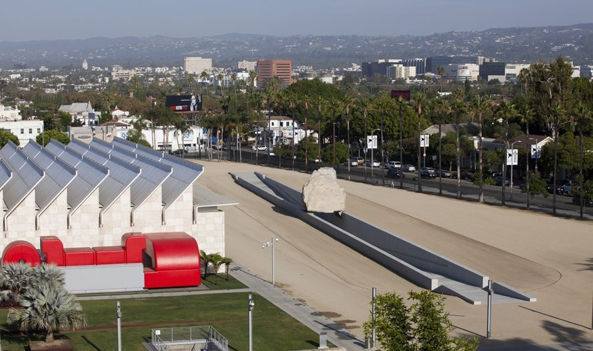 MATT construction Levitated Mass LACMA Aerial