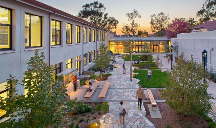 MATT construction Pomona College Millikan Laboratory Andrew Science Hall Exterior courtyard
