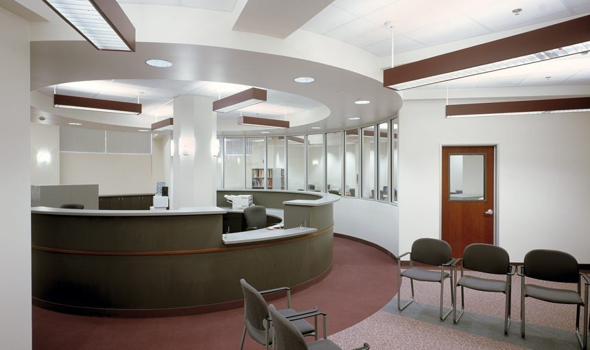 MATT construction Mater Dei High School library interior reception