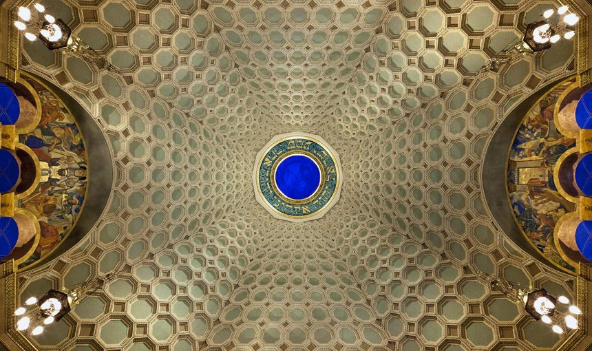 MATT construction Wilshire Boulevard Temple Interior Dome Detail