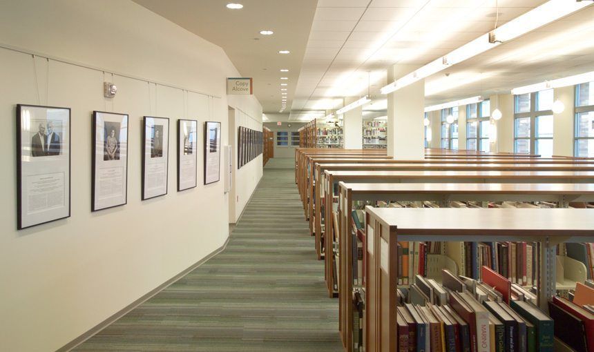 MATT construction Chapman University Leatherby Library Interior book shelves