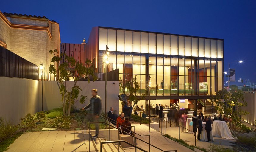 MATT construction Wallis Annenberg Center For the Performing Arts Exterior Patio Night