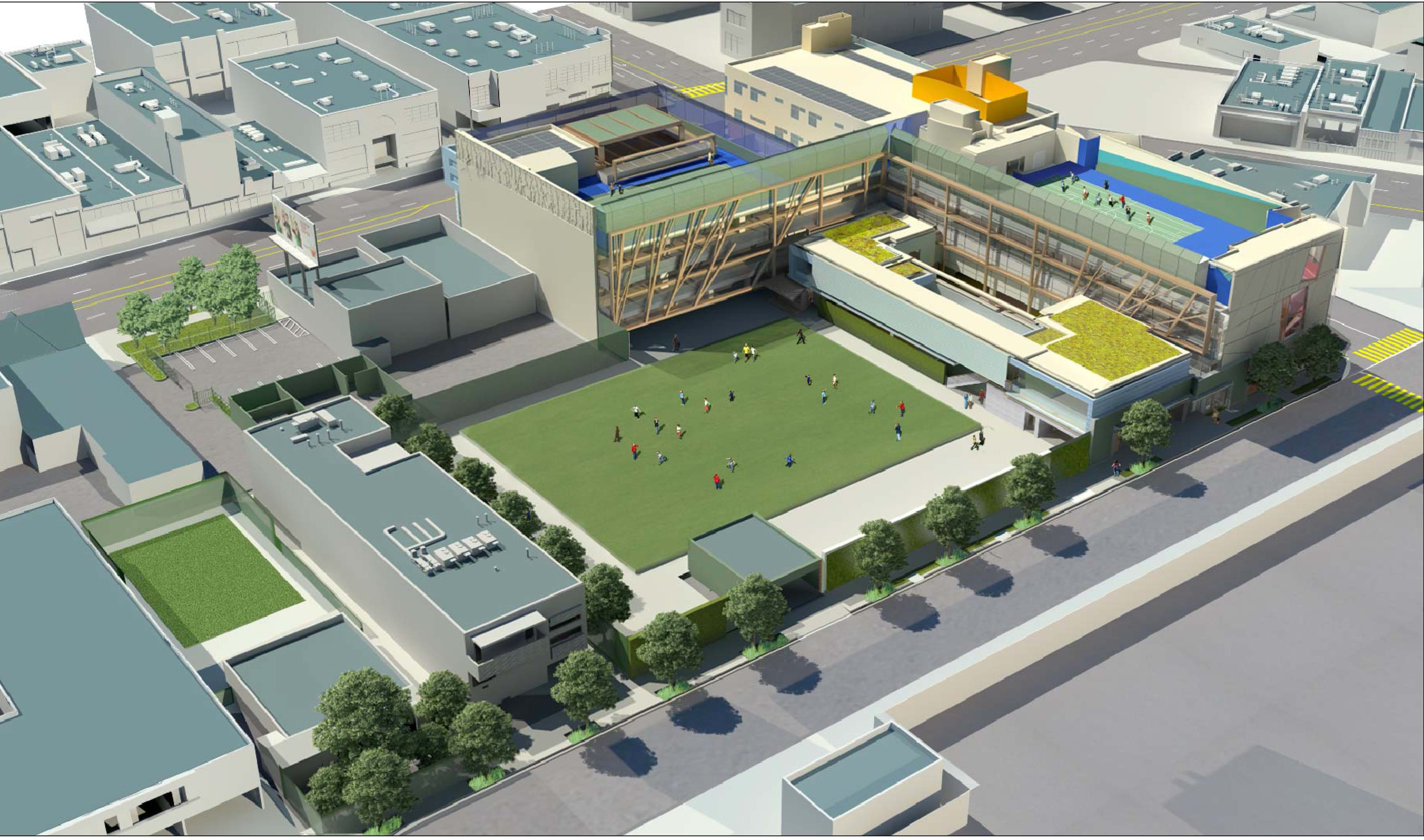 MATT Construction CEE Center for Early Education Exterior Back Athletic Field Aerial Rendering