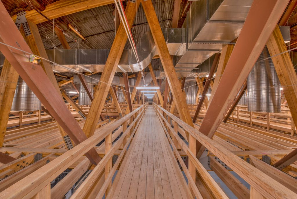 NBCU Area 51 Sound Stages Interior Wooden Trusses
