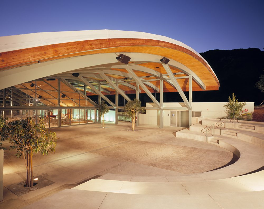 MATT construction Malibu Jewish Community Center Exterior Amphitheater Night
