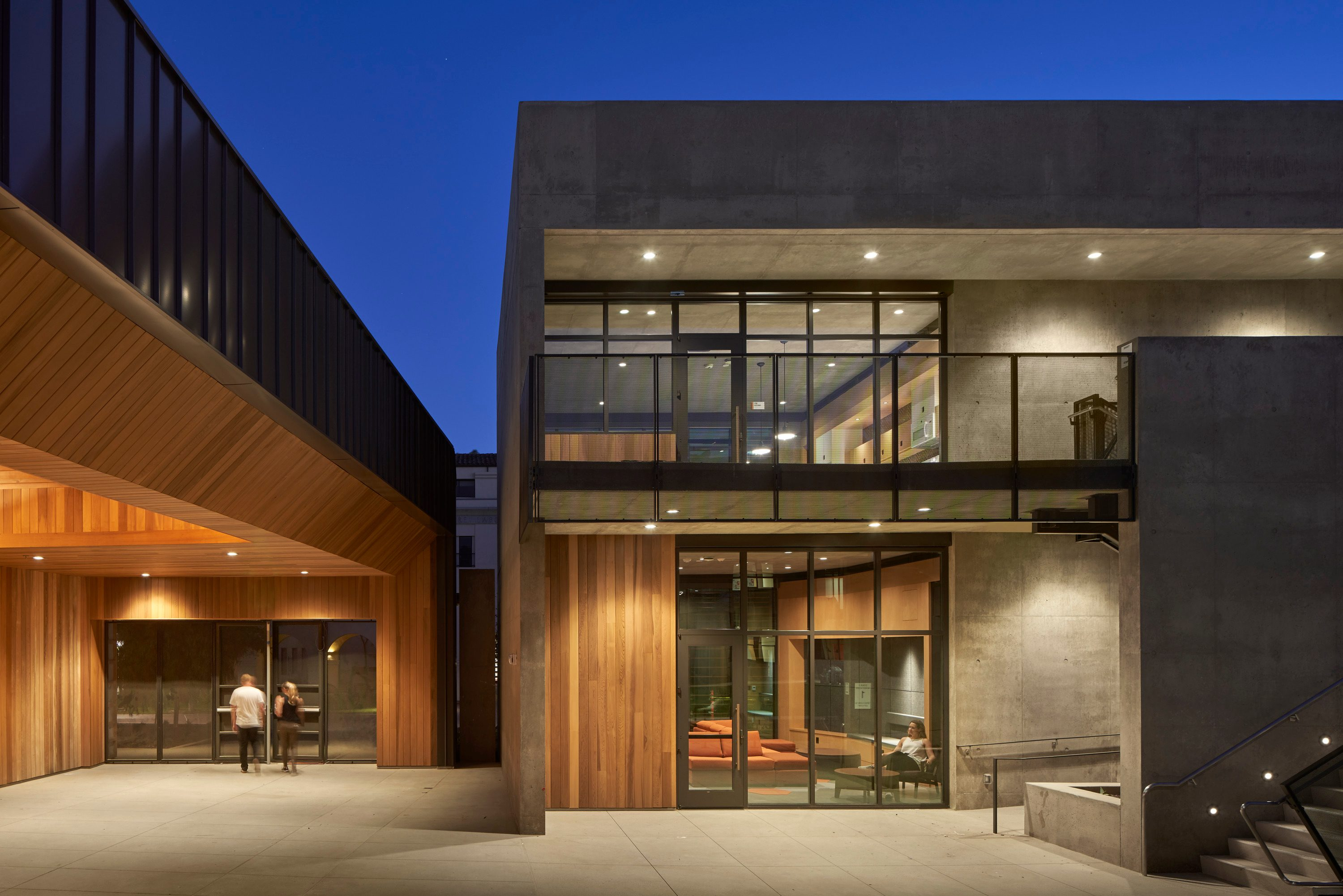 leed platinum MATT Construction Caltech Bechtel Residence exterior night