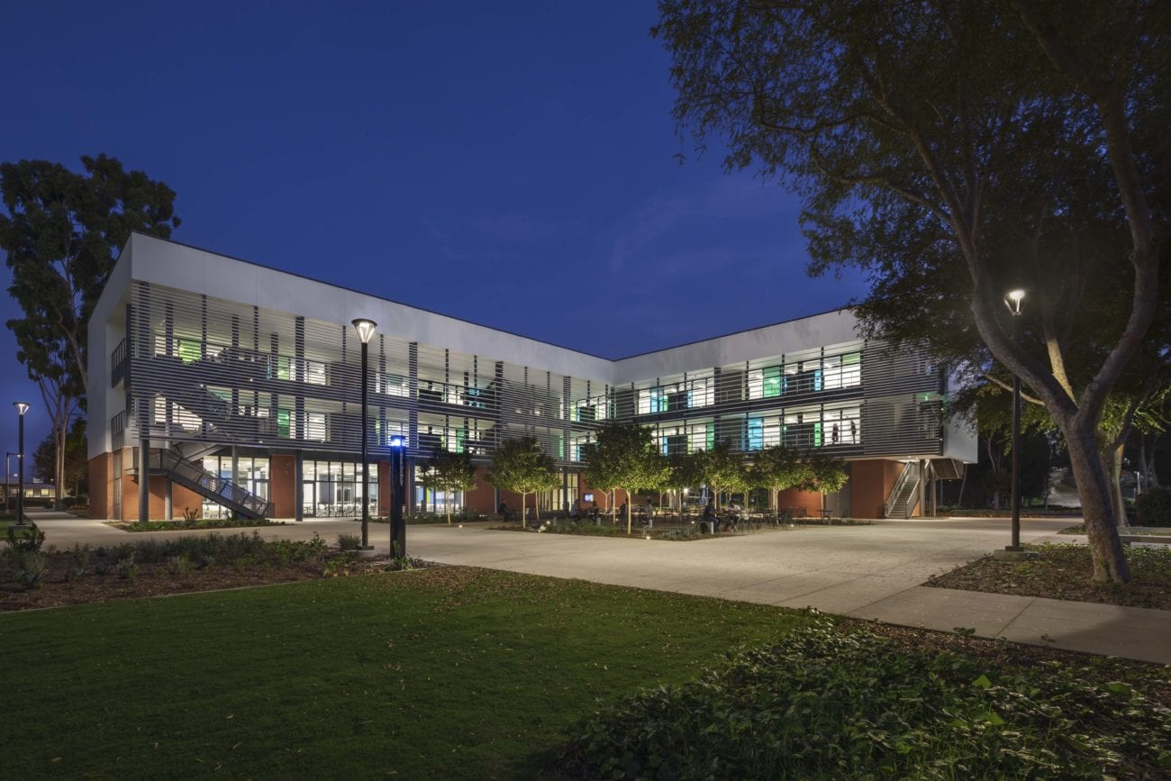 CCPE College of Continuing and Professional Education at California State University Long Beach. CSULB MATT Construction exterior night LEED platinum