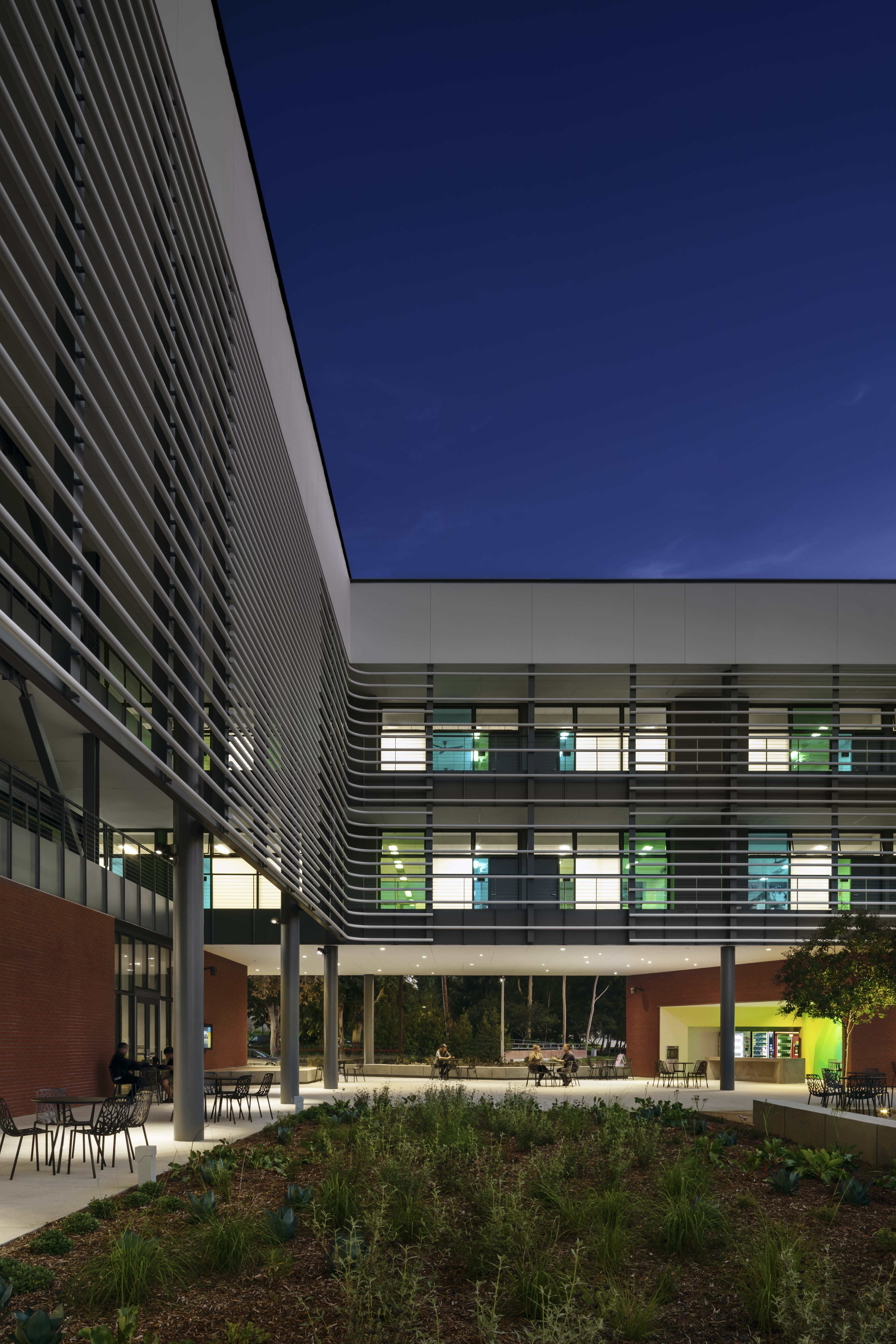 CCPE College of Continuing and Professional Education at California State University Long Beach. CSULB MATT Construction exterior night