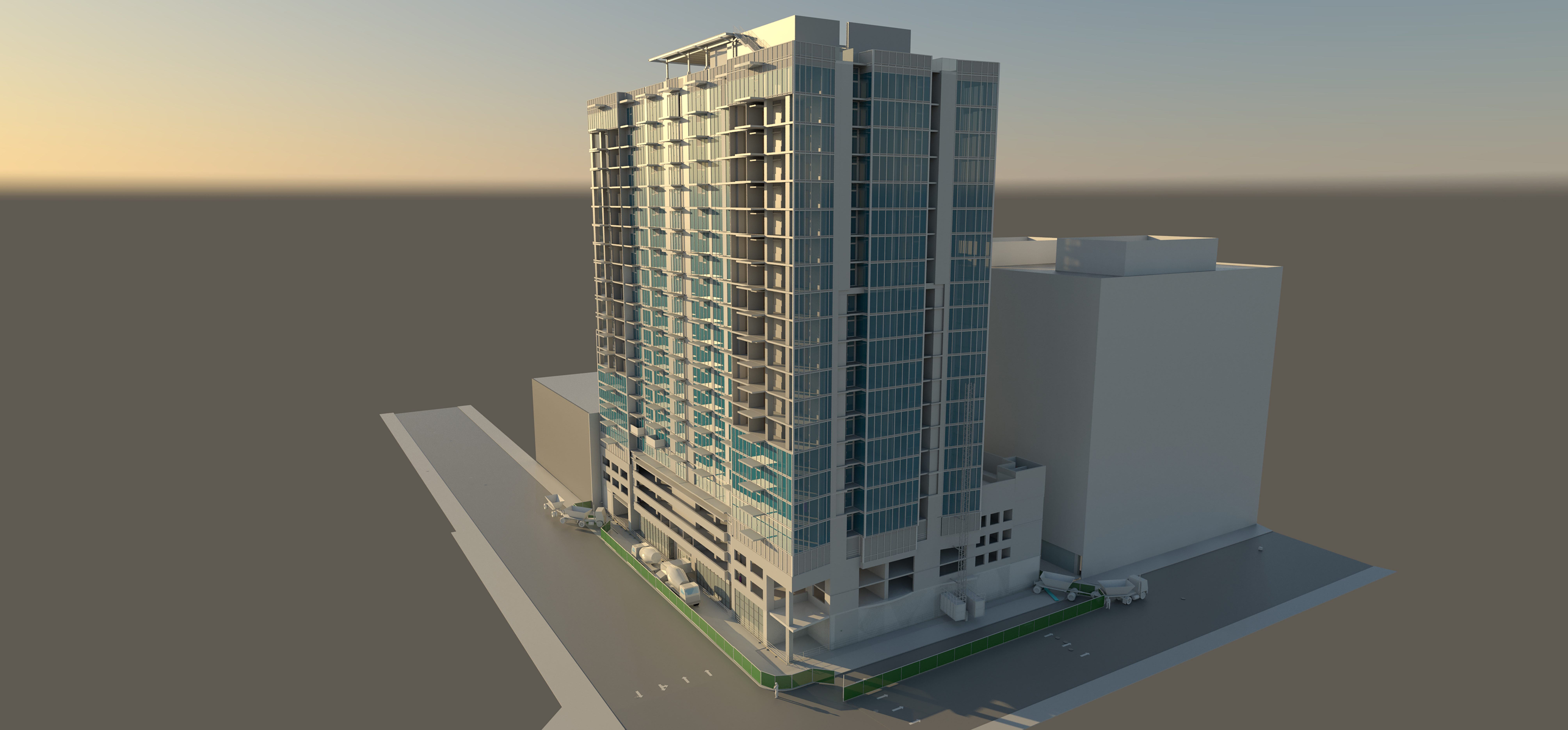 site logistics 8th and hope matt construction bim rendering